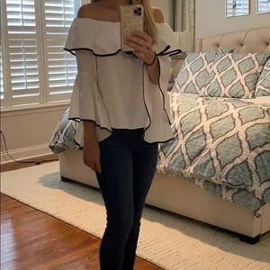Zara white wide sleeve blouse top